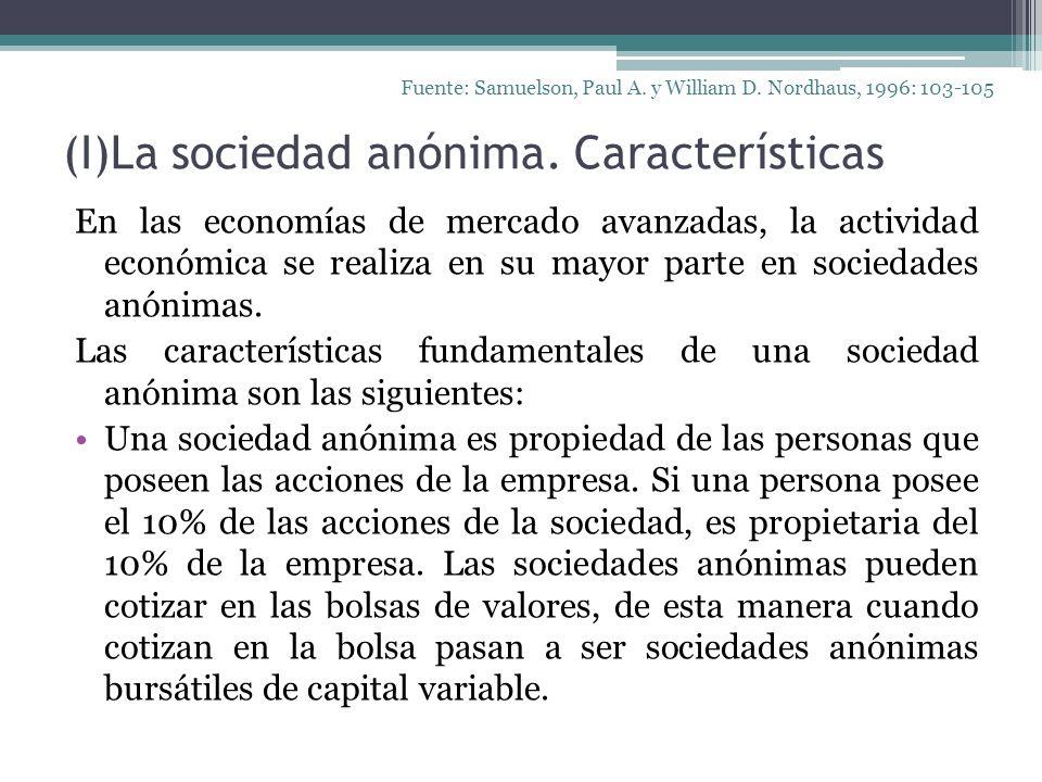 (I)La sociedad anónima. Características En las economías de mercado avanzadas, la actividad económica se realiza en su mayor parte en sociedades anóni