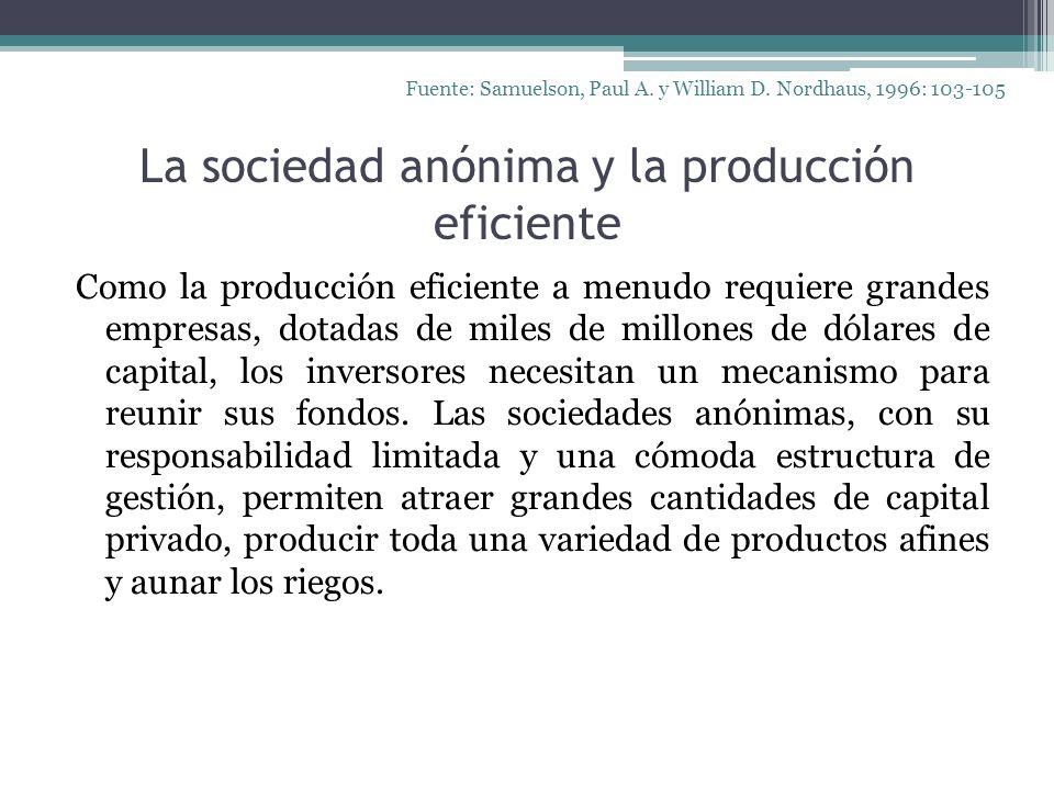 La sociedad anónima y la producción eficiente Como la producción eficiente a menudo requiere grandes empresas, dotadas de miles de millones de dólares