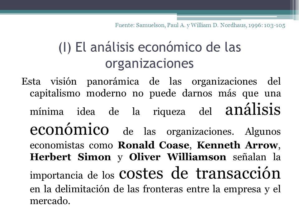 (I) El análisis económico de las organizaciones Esta visión panorámica de las organizaciones del capitalismo moderno no puede darnos más que una mínim