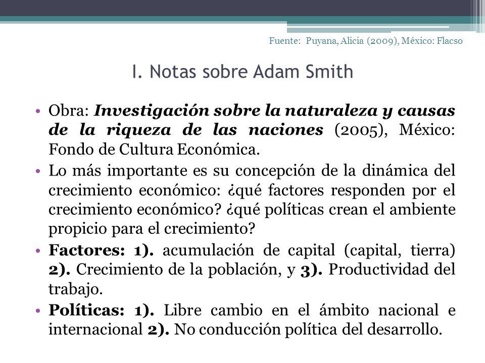I. Notas sobre Adam Smith Fuente: Puyana, Alicia (2009), México: Flacso Obra: Investigación sobre la naturaleza y causas de la riqueza de las naciones