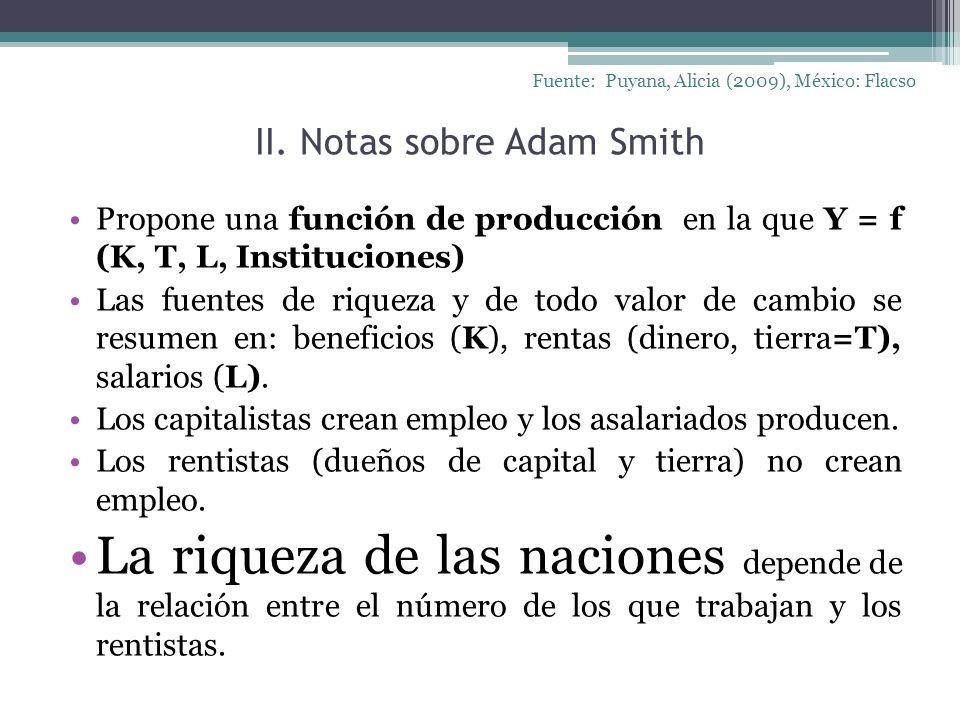 II. Notas sobre Adam Smith Fuente: Puyana, Alicia (2009), México: Flacso Propone una función de producción en la que Y = f (K, T, L, Instituciones) La