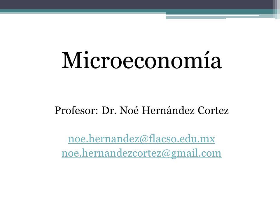 Microeconomía Profesor: Dr. Noé Hernández Cortez noe.hernandez@flacso.edu.mx noe.hernandezcortez@gmail.com