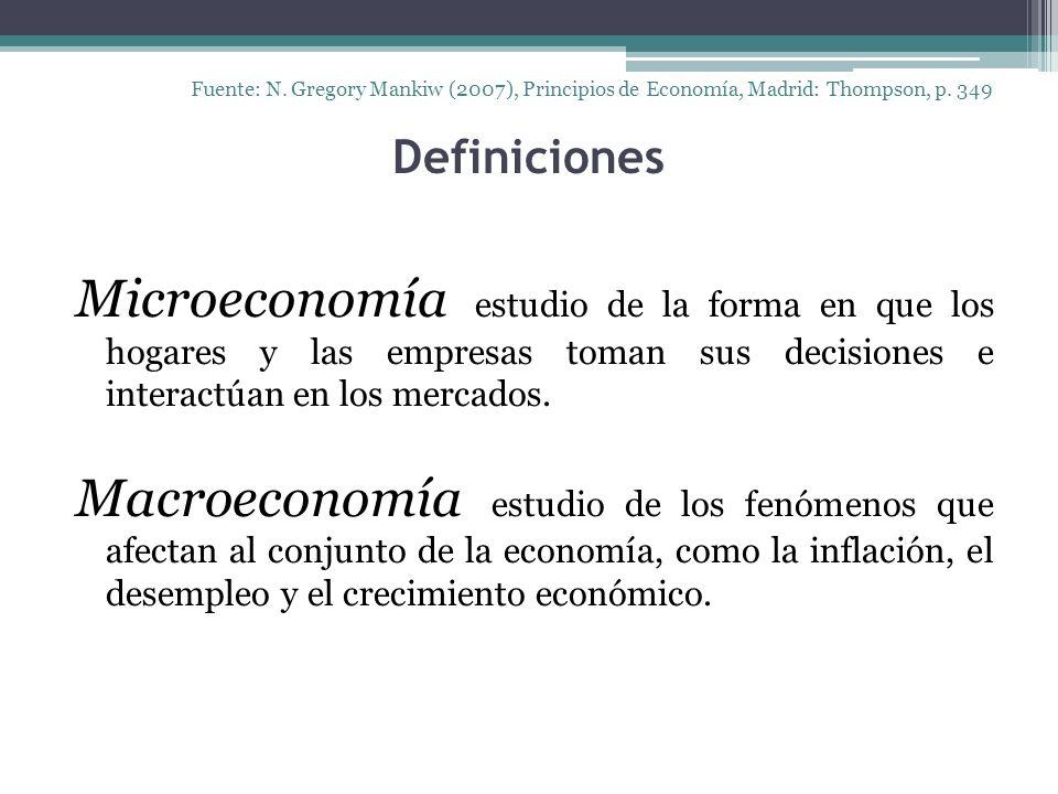Definiciones Microeconomía estudio de la forma en que los hogares y las empresas toman sus decisiones e interactúan en los mercados. Macroeconomía est