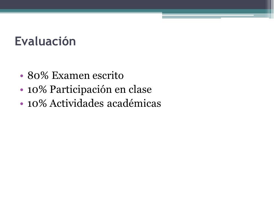 Evaluación 80% Examen escrito 10% Participación en clase 10% Actividades académicas