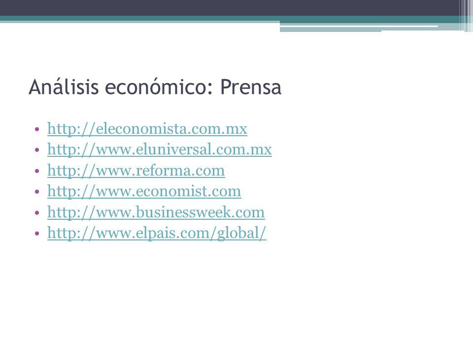 Análisis económico: Prensa http://eleconomista.com.mx http://www.eluniversal.com.mx http://www.reforma.com http://www.economist.com http://www.busines