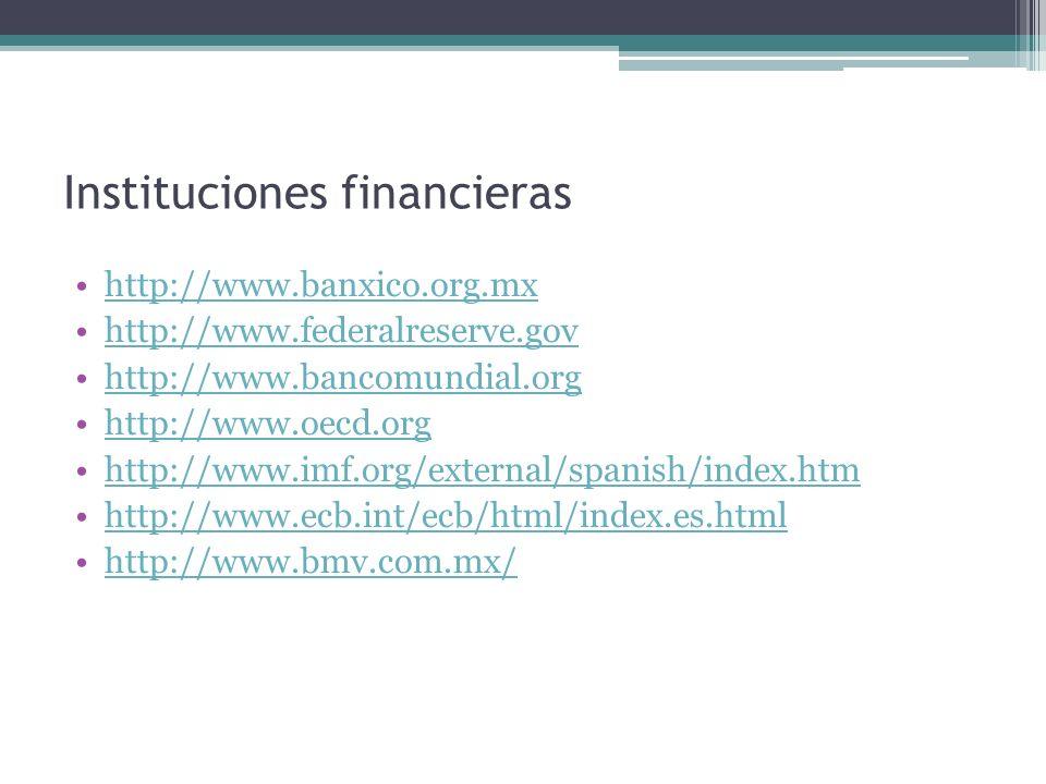 Instituciones financieras http://www.banxico.org.mx http://www.federalreserve.gov http://www.bancomundial.org http://www.oecd.org http://www.imf.org/e