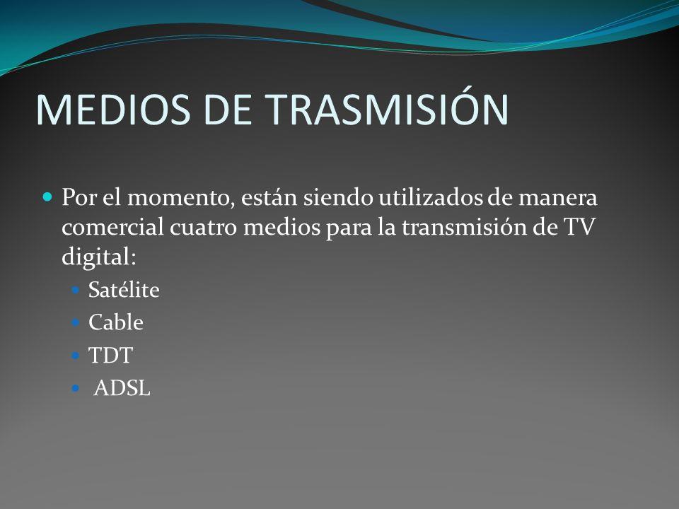 MEDIOS DE TRASMISIÓN Por el momento, están siendo utilizados de manera comercial cuatro medios para la transmisión de TV digital: Satélite Cable TDT A