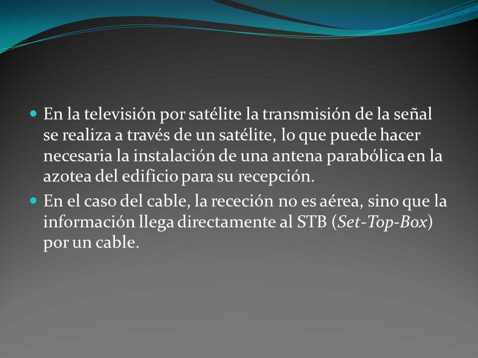 En la televisión por satélite la transmisión de la señal se realiza a través de un satélite, lo que puede hacer necesaria la instalación de una antena