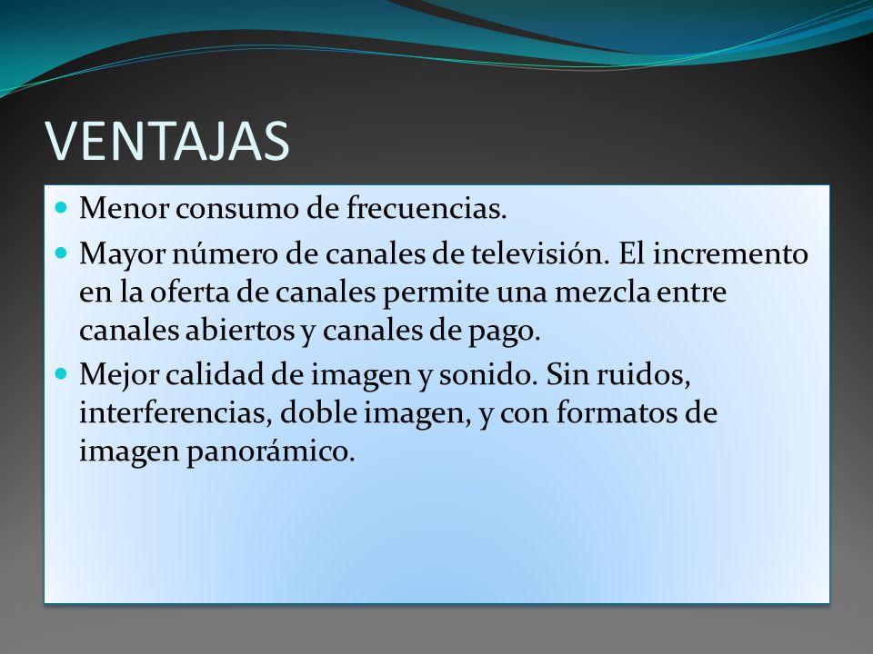 VENTAJAS Menor consumo de frecuencias. Mayor número de canales de televisión. El incremento en la oferta de canales permite una mezcla entre canales a