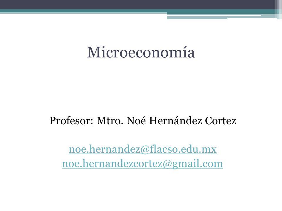 Microeconomía Profesor: Mtro. Noé Hernández Cortez noe.hernandez@flacso.edu.mx noe.hernandezcortez@gmail.com