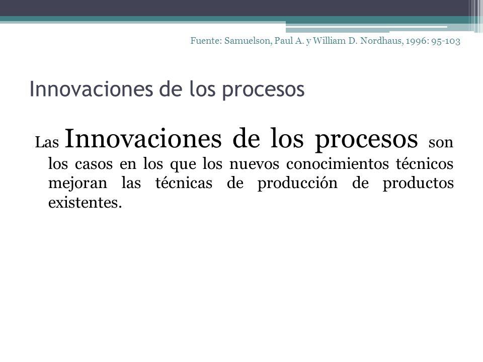 Innovaciones de los procesos Las Innovaciones de los procesos son los casos en los que los nuevos conocimientos técnicos mejoran las técnicas de produ