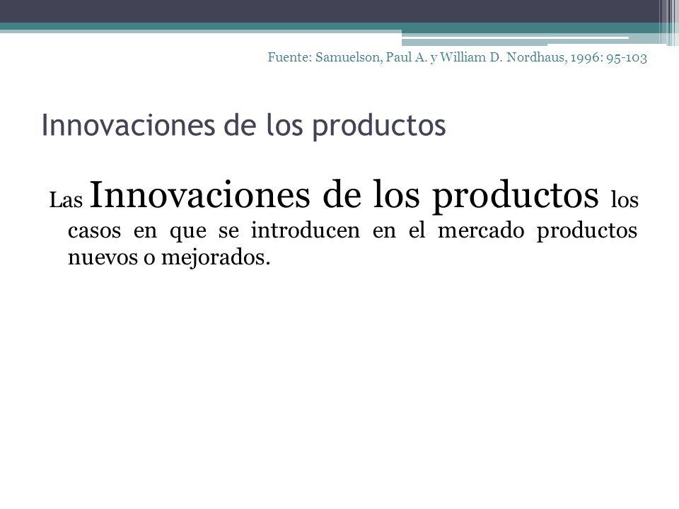 Innovaciones de los productos Las Innovaciones de los productos los casos en que se introducen en el mercado productos nuevos o mejorados. Fuente: Sam