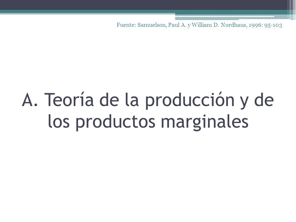 A. Teoría de la producción y de los productos marginales Fuente: Samuelson, Paul A. y William D. Nordhaus, 1996: 95-103