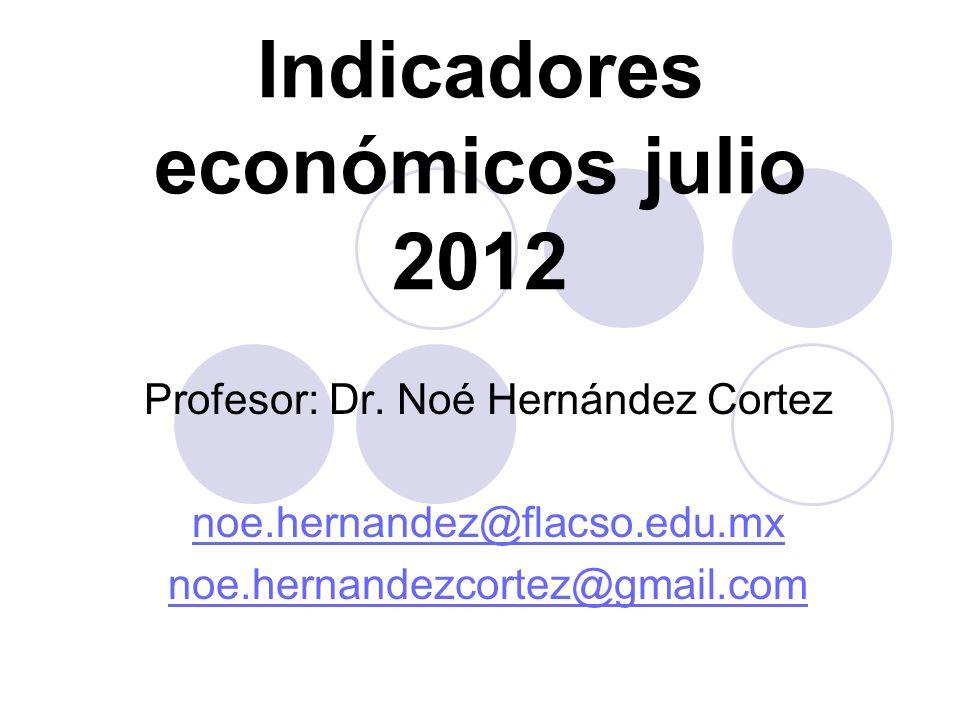Indicadores económicos julio 2012 Profesor: Dr. Noé Hernández Cortez noe.hernandez@flacso.edu.mx noe.hernandezcortez@gmail.com