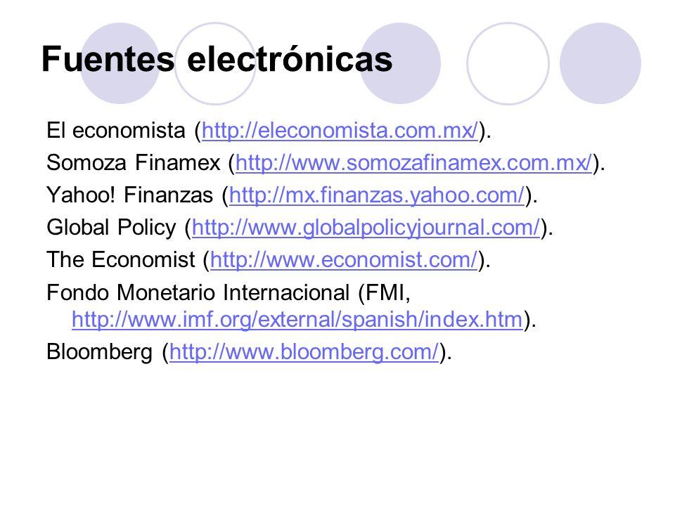 Fuentes electrónicas El economista (http://eleconomista.com.mx/).http://eleconomista.com.mx/ Somoza Finamex (http://www.somozafinamex.com.mx/).http://