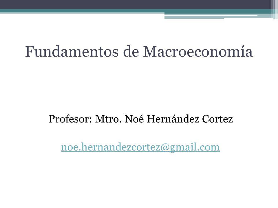 Fundamentos de Macroeconomía Profesor: Mtro. Noé Hernández Cortez noe.hernandezcortez@gmail.com