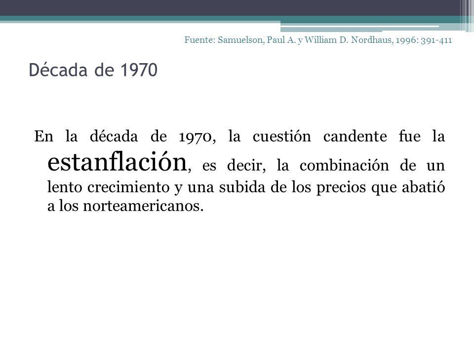 Década de 1970 Fuente: Samuelson, Paul A. y William D. Nordhaus, 1996: 391-411 En la década de 1970, la cuestión candente fue la estanflación, es deci