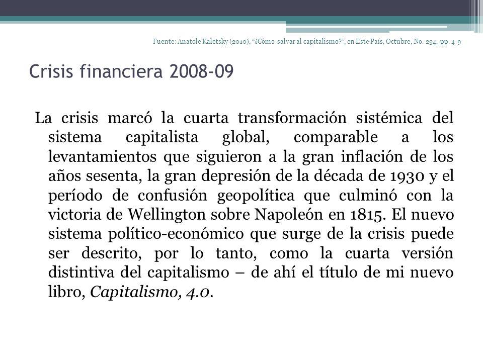 Crisis financiera 2008-09 Fuente: Anatole Kaletsky (2010), ¿Cómo salvar al capitalismo?, en Este País, Octubre, No. 234, pp. 4-9 La crisis marcó la cu