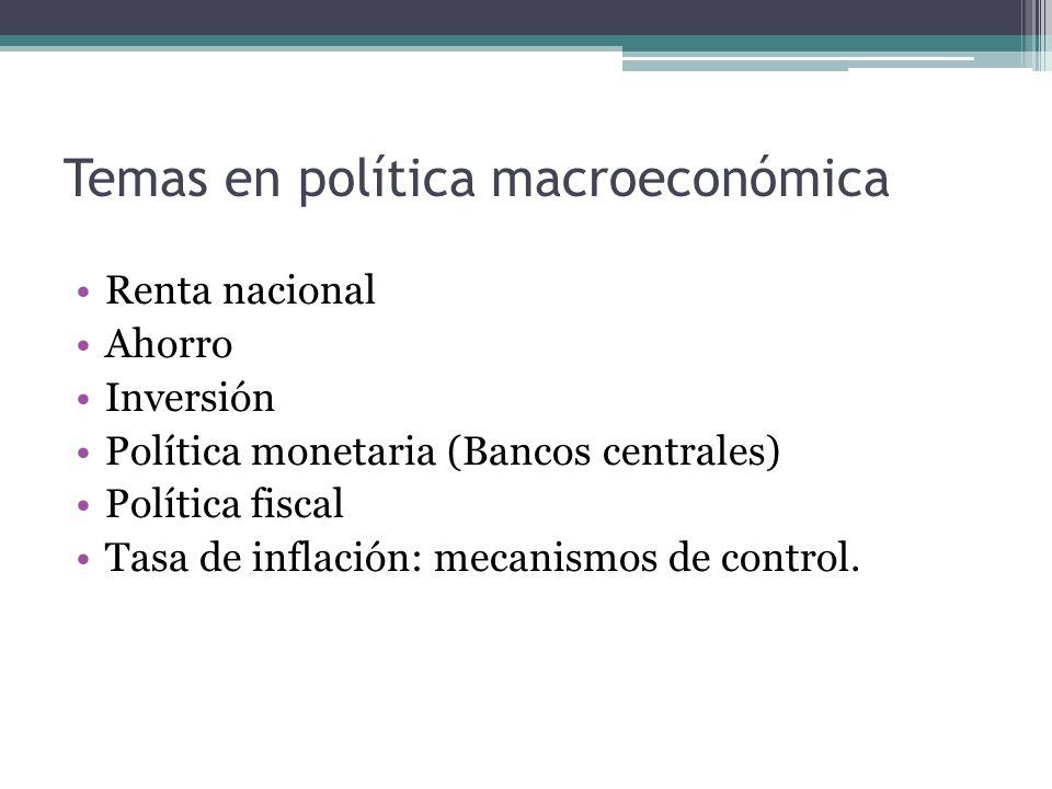 Temas en política macroeconómica Renta nacional Ahorro Inversión Política monetaria (Bancos centrales) Política fiscal Tasa de inflación: mecanismos d