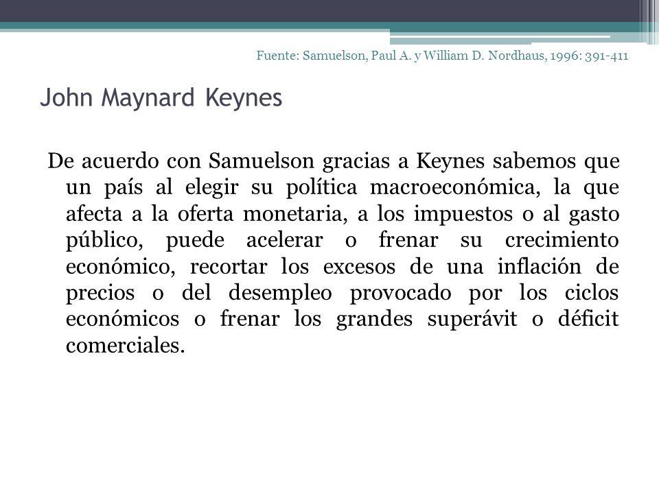 John Maynard Keynes Fuente: Samuelson, Paul A. y William D. Nordhaus, 1996: 391-411 De acuerdo con Samuelson gracias a Keynes sabemos que un país al e