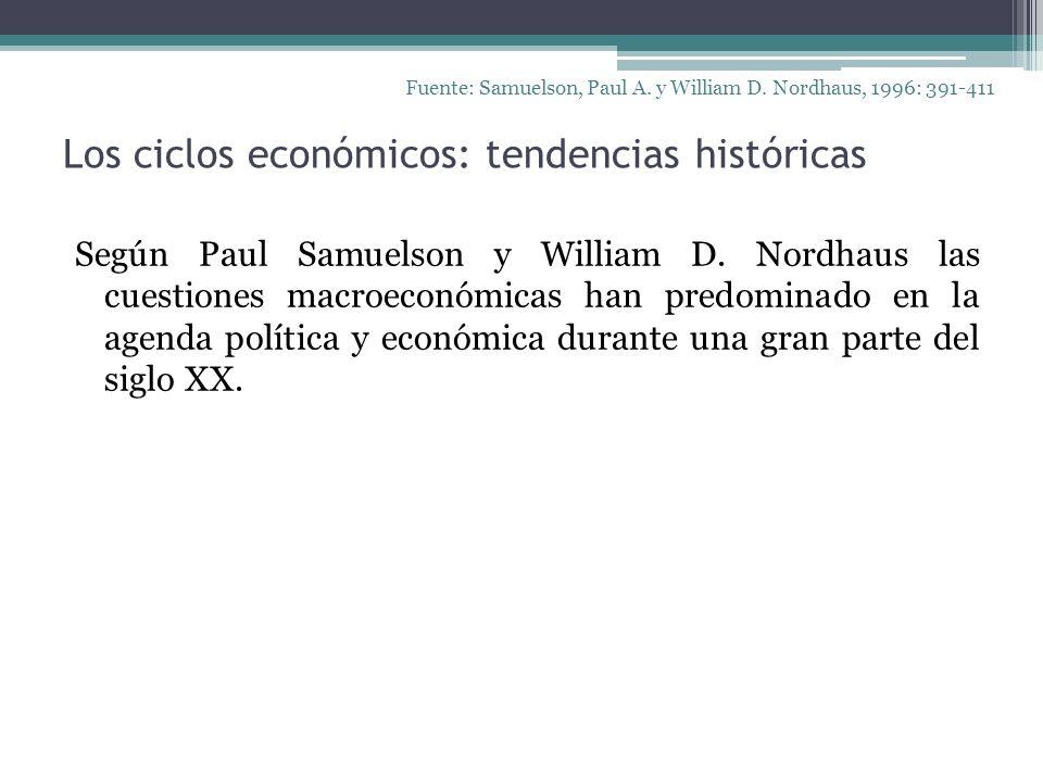Los ciclos económicos: tendencias históricas Fuente: Samuelson, Paul A. y William D. Nordhaus, 1996: 391-411 Según Paul Samuelson y William D. Nordhau