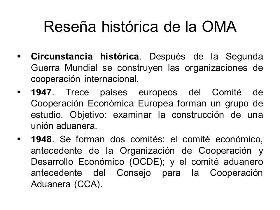 Reseña histórica de la OMA Circunstancia histórica. Después de la Segunda Guerra Mundial se construyen las organizaciones de cooperación internacional