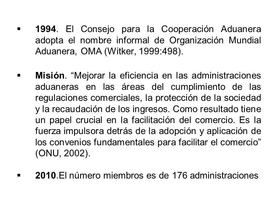 1994. El Consejo para la Cooperación Aduanera adopta el nombre informal de Organización Mundial Aduanera, OMA (Witker, 1999:498). Misión. Mejorar la e