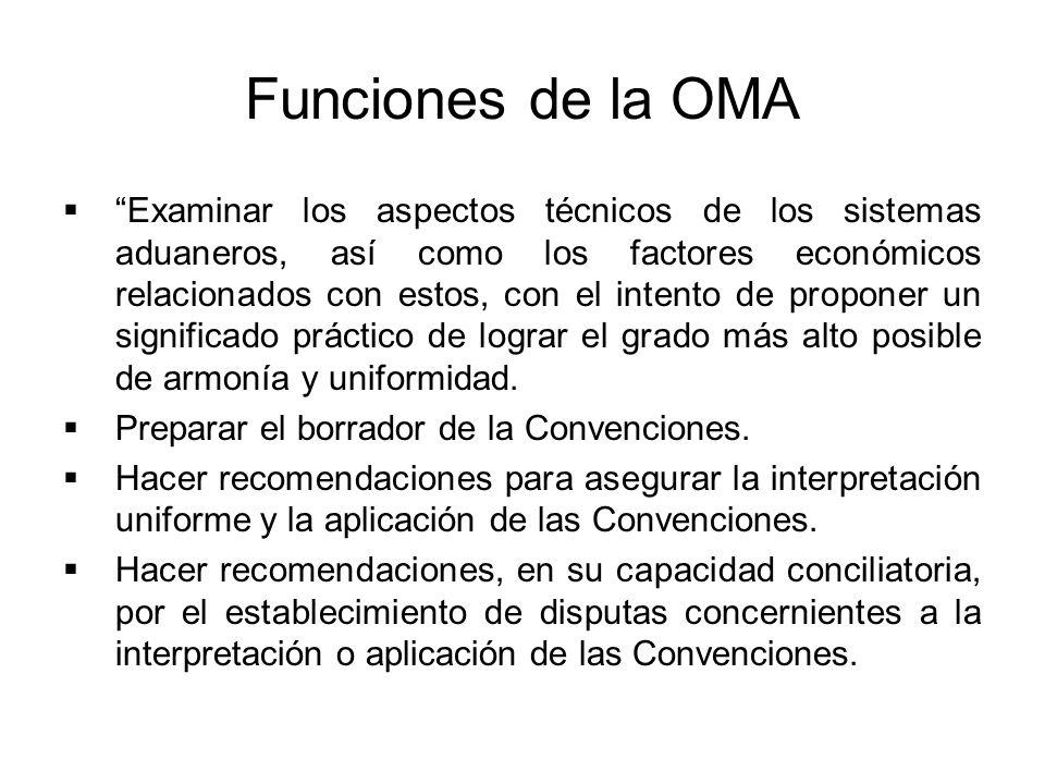 Funciones de la OMA Examinar los aspectos técnicos de los sistemas aduaneros, así como los factores económicos relacionados con estos, con el intento