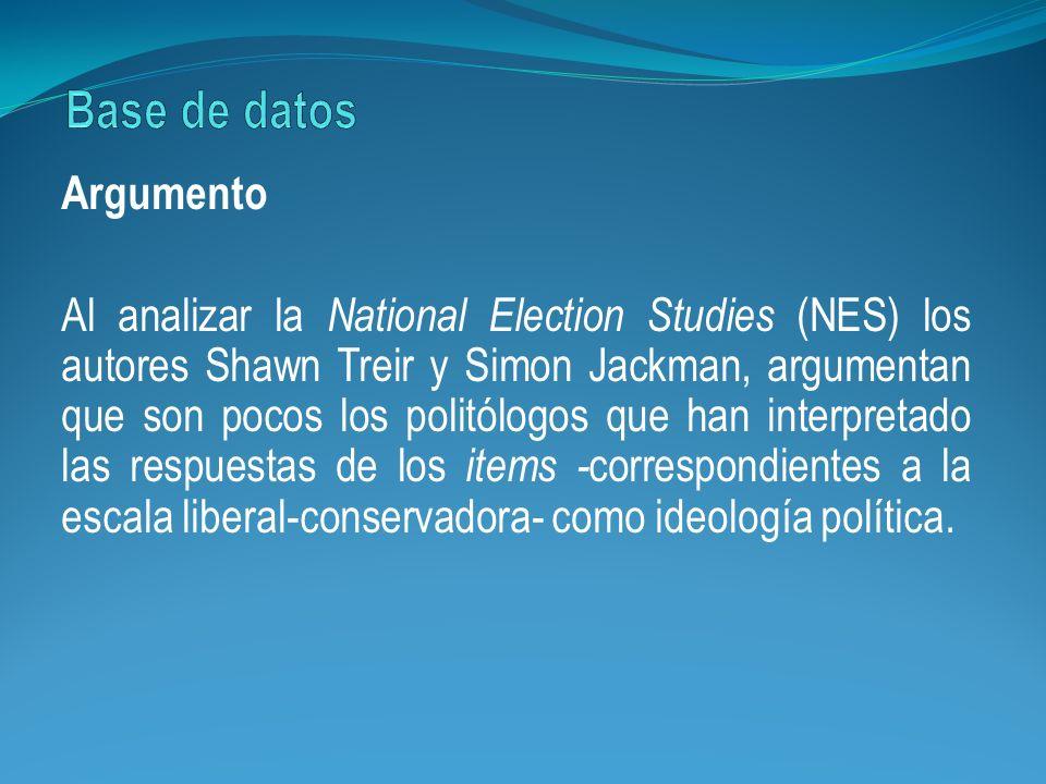 Argumento Al analizar la National Election Studies (NES) los autores Shawn Treir y Simon Jackman, argumentan que son pocos los politólogos que han int