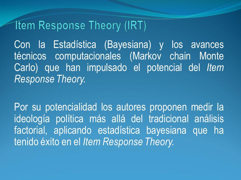 Con la Estadística (Bayesiana) y los avances técnicos computacionales (Markov chain Monte Carlo) que han impulsado el potencial del Item Response Theo