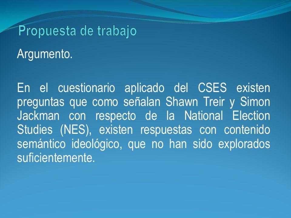 Argumento. En el cuestionario aplicado del CSES existen preguntas que como señalan Shawn Treir y Simon Jackman con respecto de la National Election St