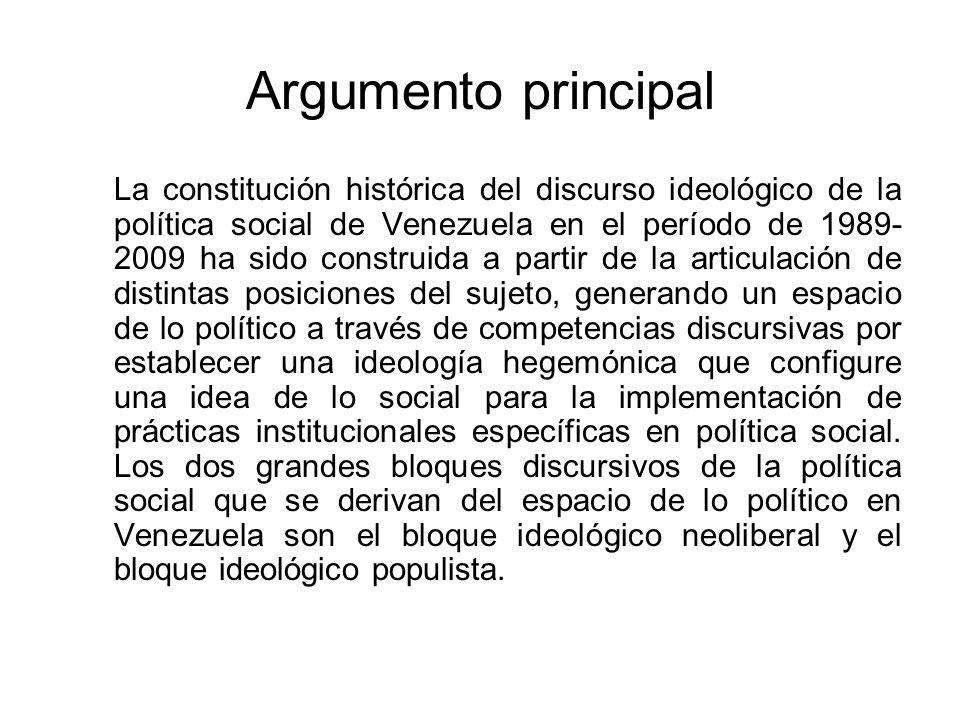 Argumento principal La constitución histórica del discurso ideológico de la política social de Venezuela en el período de 1989- 2009 ha sido construid