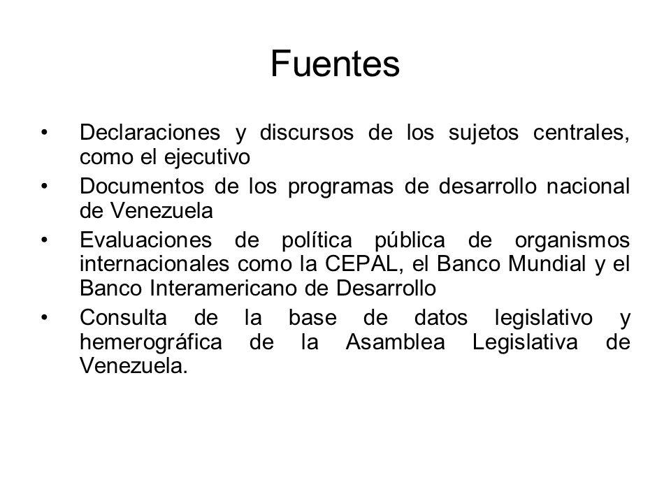 Fuentes Declaraciones y discursos de los sujetos centrales, como el ejecutivo Documentos de los programas de desarrollo nacional de Venezuela Evaluaci