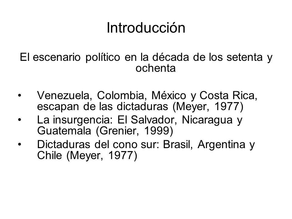 Introducción El escenario político en la década de los setenta y ochenta Venezuela, Colombia, México y Costa Rica, escapan de las dictaduras (Meyer, 1