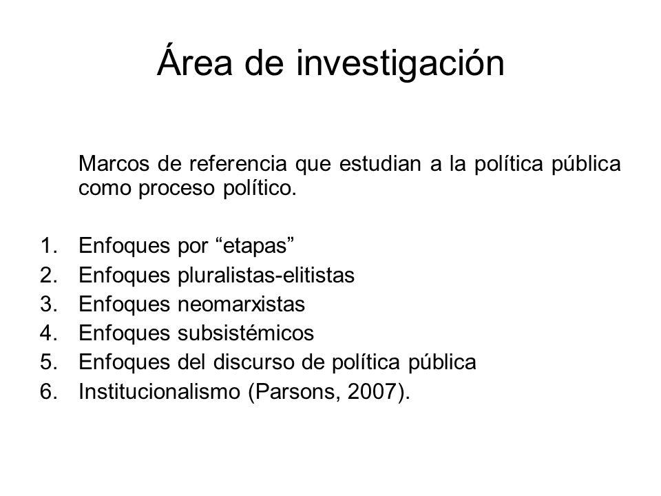 Área de investigación Marcos de referencia que estudian a la política pública como proceso político. 1.Enfoques por etapas 2.Enfoques pluralistas-elit
