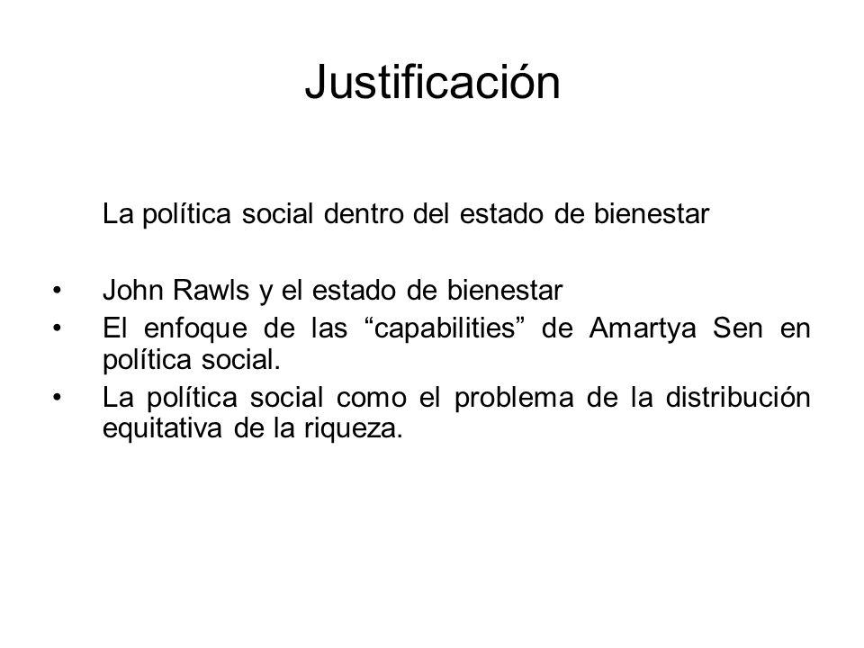 Justificación La política social dentro del estado de bienestar John Rawls y el estado de bienestar El enfoque de las capabilities de Amartya Sen en p