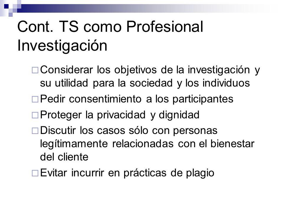 Cont. TS como Profesional Investigación Considerar los objetivos de la investigación y su utilidad para la sociedad y los individuos Pedir consentimie