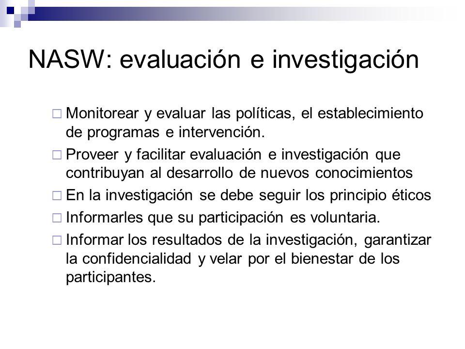 NASW: evaluación e investigación Monitorear y evaluar las políticas, el establecimiento de programas e intervención. Proveer y facilitar evaluación e