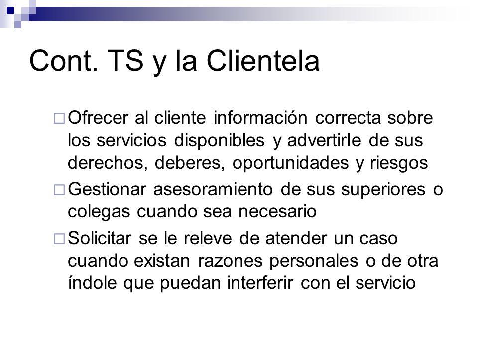 Cont. TS y la Clientela Ofrecer al cliente información correcta sobre los servicios disponibles y advertirle de sus derechos, deberes, oportunidades y