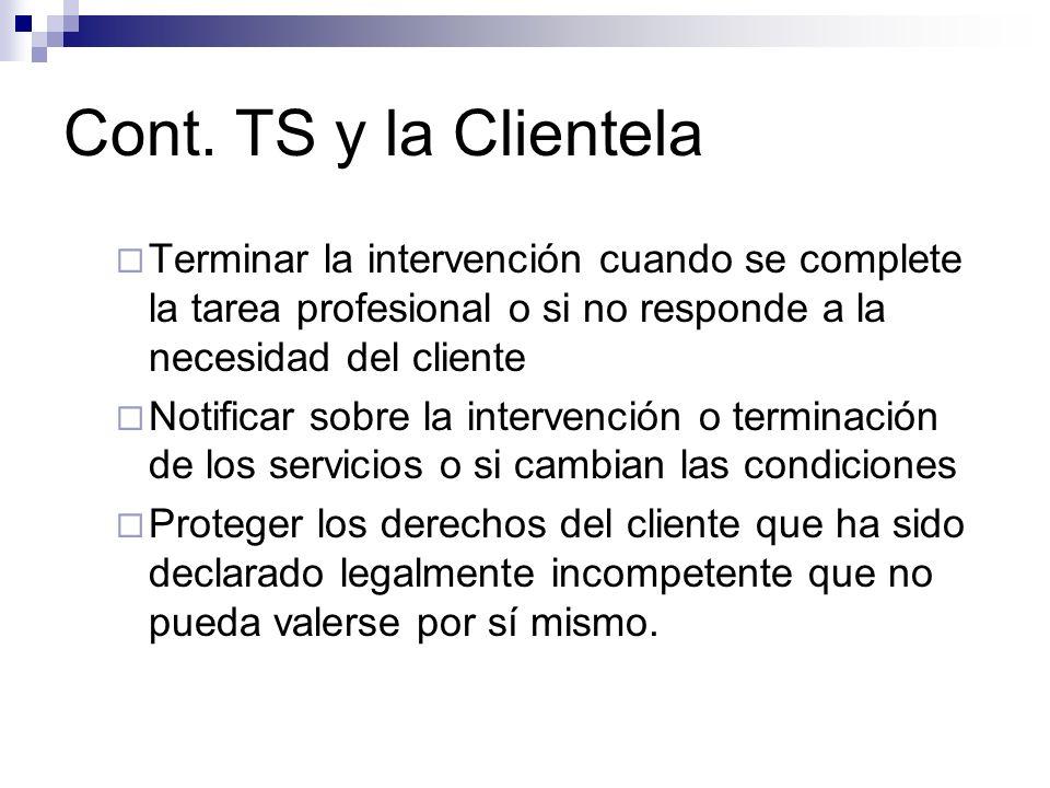 Cont. TS y la Clientela Terminar la intervención cuando se complete la tarea profesional o si no responde a la necesidad del cliente Notificar sobre l