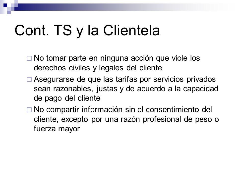 Cont. TS y la Clientela No tomar parte en ninguna acción que viole los derechos civiles y legales del cliente Asegurarse de que las tarifas por servic