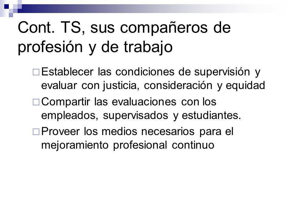 Cont. TS, sus compañeros de profesión y de trabajo Establecer las condiciones de supervisión y evaluar con justicia, consideración y equidad Compartir