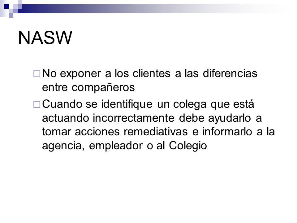 NASW No exponer a los clientes a las diferencias entre compañeros Cuando se identifique un colega que está actuando incorrectamente debe ayudarlo a to