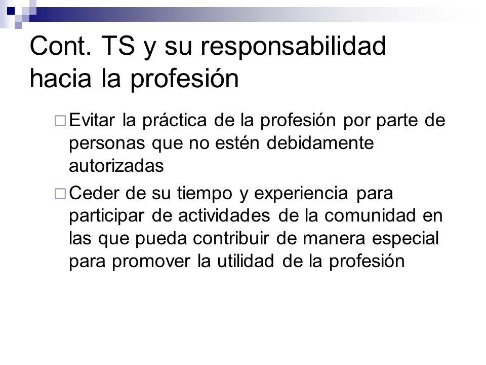 Cont. TS y su responsabilidad hacia la profesión Evitar la práctica de la profesión por parte de personas que no estén debidamente autorizadas Ceder d