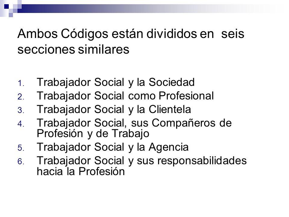 Ambos Códigos están divididos en seis secciones similares 1. Trabajador Social y la Sociedad 2. Trabajador Social como Profesional 3. Trabajador Socia