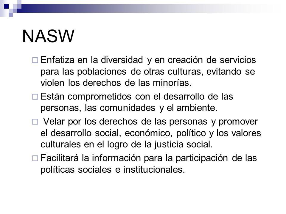 NASW Enfatiza en la diversidad y en creación de servicios para las poblaciones de otras culturas, evitando se violen los derechos de las minorías. Est