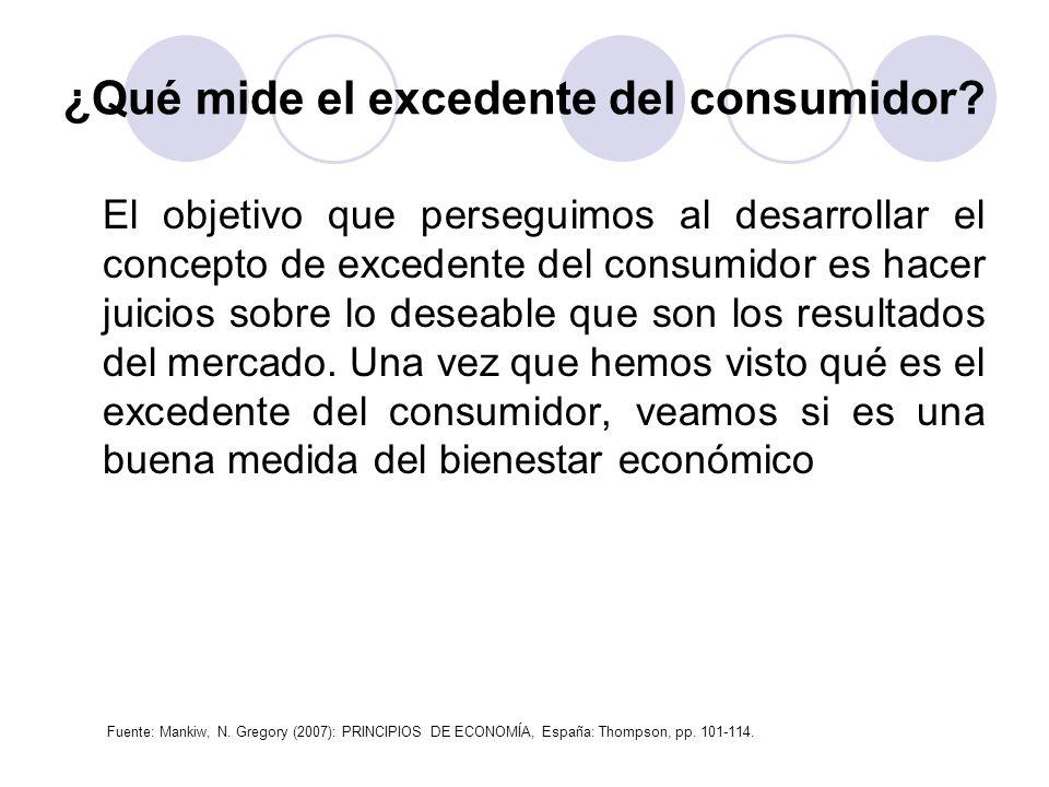 ¿Qué mide el excedente del consumidor? El objetivo que perseguimos al desarrollar el concepto de excedente del consumidor es hacer juicios sobre lo de