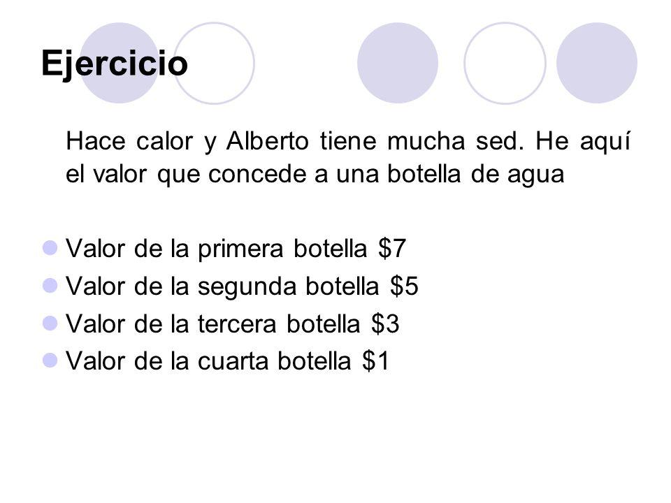 Ejercicio Hace calor y Alberto tiene mucha sed. He aquí el valor que concede a una botella de agua Valor de la primera botella $7 Valor de la segunda