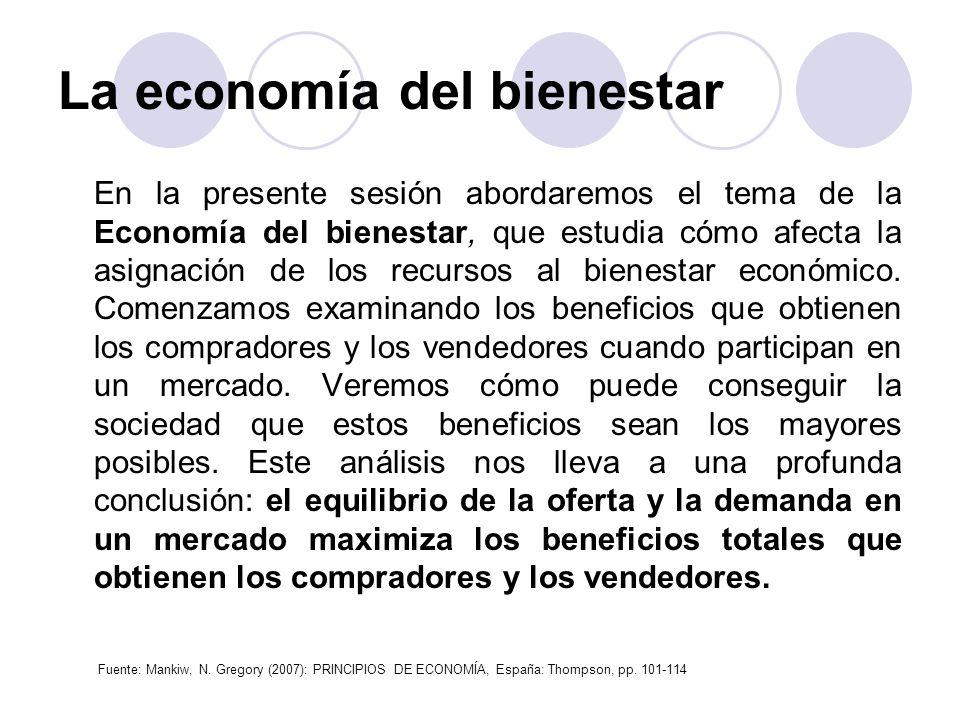 La economía del bienestar En la presente sesión abordaremos el tema de la Economía del bienestar, que estudia cómo afecta la asignación de los recurso