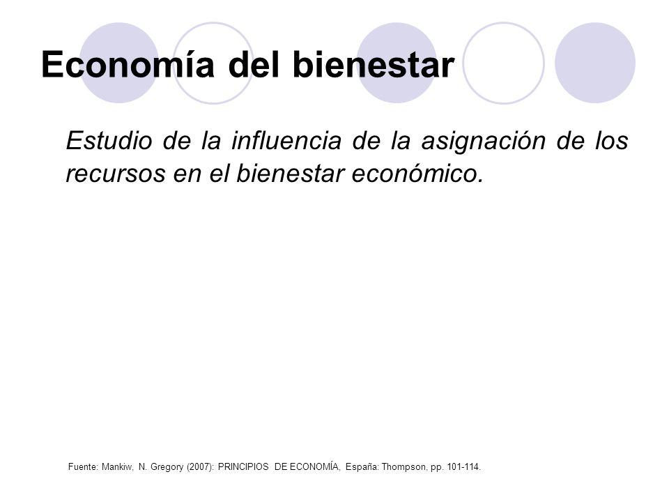 Economía del bienestar Estudio de la influencia de la asignación de los recursos en el bienestar económico. Fuente: Mankiw, N. Gregory (2007): PRINCIP